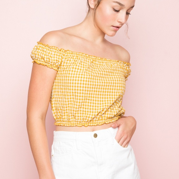 1634422a8f2 Brandy Melville Tops - Brandy Melville Rio Top in Yellow Gingham